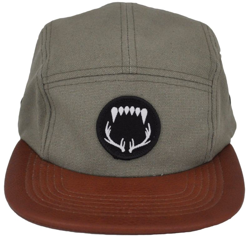 474db9c3 CUSTOM MAKE 5 PANEL CAP FLAT BRIM WITH EMBROIDERED BADGE & REAR LEATHER  BUCKLE ADJUSTER ...