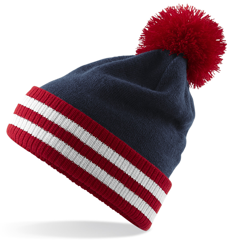 d1e2f9b2615 CUSTOM MANUFACTURED DIRECT TO YOU SOFT-TOUCH ACRYLIC POM POM   STRIPE BAND  CLUB BEANIES
