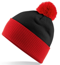 CUSTOM MANUFACTURED DIRECT TO YOU 100% CLASSIC SOFT FEEL ROLL-UP OR LONGLINE BEANIES. CONTRASTING POM POM AND RIBBED CUFF WITH DOUBLE LAYER KNIT, CAN BE MADE IN ANY COLOURWAY 								WITH YOU ARTWORK/DECORATION/TABS. BLACK-RED