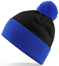 CUSTOM MANUFACTURED DIRECT TO YOU 100% CLASSIC SOFT FEEL ROLL-UP OR LONGLINE BEANIES. CONTRASTING POM POM AND RIBBED CUFF WITH DOUBLE LAYER KNIT, CAN BE MADE IN ANY COLOURWAY 								WITH YOU ARTWORK/DECORATION/TABS. BLACK-ROYAL