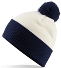 CUSTOM MANUFACTURED DIRECT TO YOU 100% CLASSIC SOFT FEEL ROLL-UP OR LONGLINE BEANIES. CONTRASTING POM POM AND RIBBED CUFF WITH DOUBLE LAYER KNIT, CAN BE MADE IN ANY COLOURWAY 								WITH YOU ARTWORK/DECORATION/TABS. CREAM-NAVY