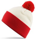 CUSTOM MANUFACTURED DIRECT TO YOU 100% CLASSIC SOFT FEEL ROLL-UP OR LONGLINE BEANIES. CONTRASTING POM POM AND RIBBED CUFF WITH DOUBLE LAYER KNIT, CAN BE MADE IN ANY COLOURWAY 								WITH YOU ARTWORK/DECORATION/TABS. CREAM-RED