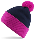 CUSTOM MANUFACTURED DIRECT TO YOU 100% CLASSIC SOFT FEEL ROLL-UP OR LONGLINE BEANIES. CONTRASTING POM POM AND RIBBED CUFF WITH DOUBLE LAYER KNIT, CAN BE MADE IN ANY COLOURWAY 								WITH YOU ARTWORK/DECORATION/TABS. HOT PINK-NAVY