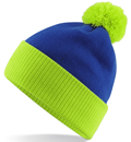 CUSTOM MANUFACTURED DIRECT TO YOU 100% CLASSIC SOFT FEEL ROLL-UP OR LONGLINE BEANIES. CONTRASTING POM POM AND RIBBED CUFF WITH DOUBLE LAYER KNIT, CAN BE MADE IN ANY COLOURWAY 								WITH YOU ARTWORK/DECORATION/TABS. ROYAL-LIME