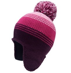 CUSTOM MAKE 100% ACRYLIC OVER THE EAR BEANIE MAROON/PINK/PINK/WHITE WITH POM POM