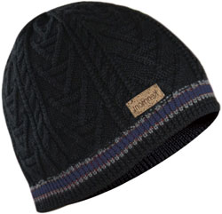 CUSTOM MAKE KNITTED SKULL BEANIE with ALTERNATIVE STRIPES BLACK/GREY/NAVY