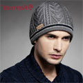 CUSTOM MAKE KNITTED SKULL BEANIE with ALTERNATIVE STRIPES ON MODEL