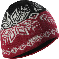 CUSTOM MAKE KNITTED SKULL BEANIE with CONTRASTING COLOUR SNOWFLAKE PATTERN