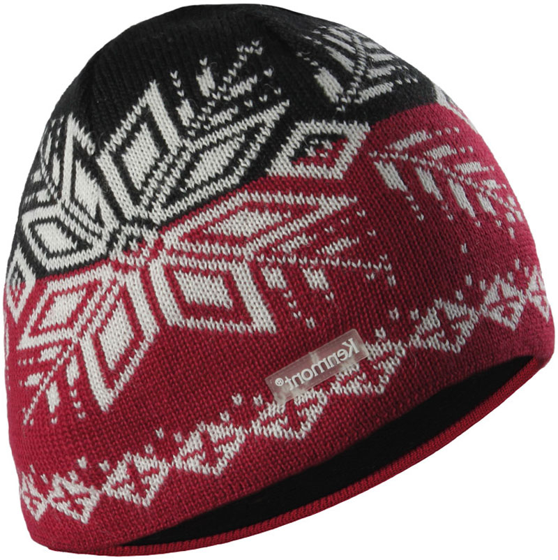 Hand Knit Scull Beanie decorated Ski Hat Style Pattern .