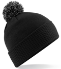CUSTOM MANUFACTURED DIRECT TO YOU SOFT-TOUCH ACRYLIC CONTRAST 		                         POM POM BEANIES DECORATED WITH YOUR ARTWORK/LOGOS/TAB INC INNER WOVEN LABELS BLACK-LITE GREY. WE CAN DESIGN ANY COLOUR WAY