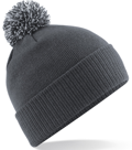 CUSTOM MANUFACTURED DIRECT TO YOU SOFT-TOUCH ACRYLIC CONTRAST 		                         POM POM BEANIES DECORATED WITH YOUR ARTWORK/LOGOS/TAB INC INNER WOVEN LABELS CHARCOAL-LITE GREY. WE CAN DESIGN ANY COLOUR WAY