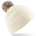 CUSTOM MANUFACTURED DIRECT TO YOU SOFT-TOUCH ACRYLIC CONTRAST 		                         POM POM BEANIES DECORATED WITH YOUR ARTWORK/LOGOS/TAB INC INNER WOVEN LABELS CREAM-CHOCOLATE. WE CAN DESIGN ANY COLOUR WAY
