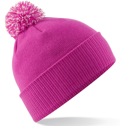 CUSTOM MANUFACTURED DIRECT TO YOU SOFT-TOUCH ACRYLIC CONTRAST 		                         POM POM BEANIES DECORATED WITH YOUR ARTWORK/LOGOS/TAB INC INNER WOVEN LABELS HOT PINK OF-WHITE. WE CAN DESIGN ANY COLOUR WAY