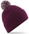 CUSTOM MANUFACTURED DIRECT TO YOU SOFT-TOUCH ACRYLIC CONTRAST 		                         POM POM BEANIES DECORATED WITH YOUR ARTWORK/LOGOS/TAB INC INNER WOVEN LABELS MAROON OFF-WHITE. WE CAN DESIGN ANY COLOUR WAY