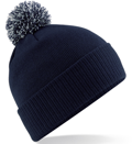 CUSTOM MANUFACTURED DIRECT TO YOU SOFT-TOUCH ACRYLIC CONTRAST 		                         POM POM BEANIES DECORATED WITH YOUR ARTWORK/LOGOS/TAB INC INNER WOVEN LABELS NAVY BLUE WHITE. WE CAN DESIGN ANY COLOUR WAY