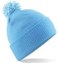 CUSTOM MANUFACTURED DIRECT TO YOU SOFT-TOUCH ACRYLIC CONTRAST 		                         POM POM BEANIES DECORATED WITH YOUR ARTWORK/LOGOS/TAB INC INNER WOVEN LABELS SKY BLUE-WHITE. WE CAN DESIGN ANY COLOUR WAY