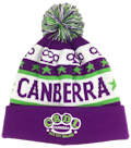 CANBERRA VICE CITY ROLLERS ROLLER DERBY LEAGUE PURPLE LIME GREEN STAR AND SHAPES KNITTED IN CUSTOM MAKE ROLL-UP OR LONGLINE ACRYLIC BEANIES. YES WE WILL HELP YOU DESIGN AND CHOOSE COLOURS, SIMPLY EMAIL US YOUR LOGO/ARTWORK. COLOUR: PURPLE/LIME/WHITE with POM POM TYPE