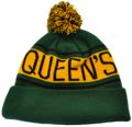 CUSTOM MAKE ROLL-UP OR LONGLINE ACRYLIC BEANIES. YES WE WILL HELP  								YOU DESIGN AND CHOOSE COLOURS, SIMPLY SEND US YOUR LOGO/ARTWORK. THIS ONE WE DESIGNED & MANUFACTURED FOR QUEENS COLLEGE IN PARKVILLE MELBOURNE AUSTRALIA. COLOUR:  								BOTTLE GREEN/CHOCOLATE/GOLD with PEPPER & SALT POM POM TYPE