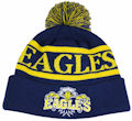 CUSTOM MAKE ROLL-UP OR LONGLINE ACRYLIC BEANIES. YES WE WILL HELP  								YOU DESIGN AND CHOOSE COLOURS, SIMPLY EMAIL US YOUR LOGO/ARTWORK. COLOUR: NAVY BLUE/YELLOW with PEPPER & SALT POM POM TYPE