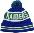 CUSTOM MAKE ROLL-UP OR LONGLINE ACRYLIC BEANIE,OLD PARADIANS FOOTBALL CLUB THE RAIDERS CHOSE THIS STYLE FOR US TO DESIGN AND MAKE UP.