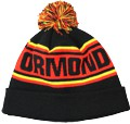 CUSTOM MAKE ROLL-UP OR LONGLINE ACRYLIC BEANIES. YES WE WILL HELP  								YOU DESIGN AND CHOOSE COLOURS, SIMPLY SEND US YOUR LOGO/ARTWORK. THIS ONE WE DESIGNED & MANUFACTURED FOR ORMOND COLLEGE. COLOUR:  								BLACK/RED/YELLOW with PEPPER & SALT POM POM TYPE