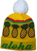TROPICAL GOLD PINEAPPLE CUSTOM MAKE ROLL-UP OR LONGLINE ACRYLIC BEANIES. YES WE WILL HELP YOU DESIGN AND CHOOSE COLOURS, SIMPLY EMAIL US YOUR LOGO/ARTWORK. COLOUR: GOLD/GREEN/RED WHITE with POM POM TYPE