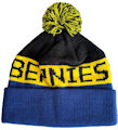 CUSTOM MAKE ROLL-UP OR LONGLINE ACRYLIC BEANIES. YES WE WILL HELP  								YOU DESIGN AND CHOOSE COLOURS, SIMPLY SEND US YOUR LOGO/ARTWORK ROYAL/YELLOW/BLACK 								WITH YELLOW-BLACK POM POM TYPE