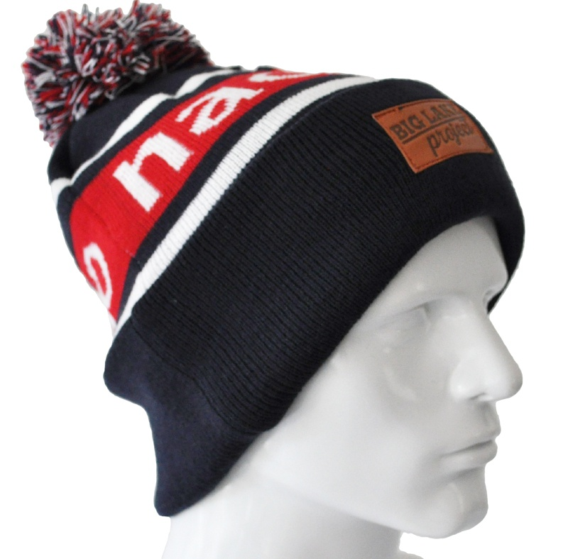 fb6c4fc3 CUSTOM MAKE ACRYLIC POM WITH BEANIE & CUSTOM LEATHER PATCH, 100% ACRYLIC  HAND KNIT ...