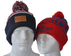 CUSTOM MAKE ROLL-UP BEANIE WITH POM POM. WE CAN DYE THE YARN TO ANY PMS COLOUR,KNIT IN YOUR TEXT, ANY COLOUR POM POM & EMBROIDER/DECORATE WITH YOUR VERY OWN LOGO