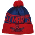 CUSTOM MAKE ROLL-UP OR LONGLINE ACRYLIC BEANIES. YES WE WILL HELP  								YOU DESIGN AND CHOOSE COLOURS, SIMPLY SEND US YOUR LOGO/ARTWORK. THIS ONE WE DESIGNED & MANUFACTURED FOR ST MARY'S COLLEGE COLOUR: ROYAL/RED 								WITH REDPOM POM TYPE