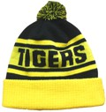 THIS IS THE REAR VIEW OfF TIGERS FOOTBALL CLUB BEANIES WITH POM POM & RIBBED CUFF