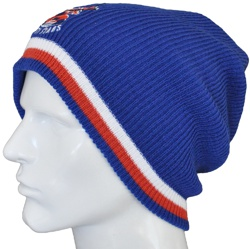 SLOUCHY KNIT BEANIES CUSTOM MADE DYED & KNITTED TO ANY PMS COLOUR PLAINS, SEGMENTED AND STRIPED ANY DESIGN 								WITH EMBROIDERED LOGOS, AND WOVEN TABS