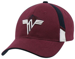 LEFT FRONT VIEW OF HAT WITH EMBROIDERED LOGO