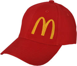 LEFT FRONT VIEW OF HAT WITH MCDONALDS EMBROIDERED LOGO
