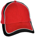FRONT VIEW OF BASEBALL CAP RED/WHITE/BLACK