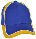 FRONT VIEW OF BASEBALL CAP ROYAL/WHITE/GOLD