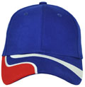 FRONT VIEW OF BASEBALL CAP ROYAL/WHITE/RED