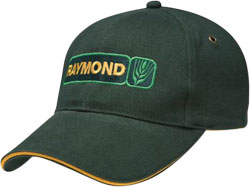 LEFT FRONT VIEW OF CAP WITH EMBROIDERED LOGO