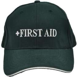 HEAVY BRUSHED COTTON BASEBALL FIRST AID CAP. BOTTLE GREEN TEXT WITH HI VIS SILVER SANDWICH PEAK & REAR VELCRO TAB.