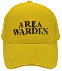 HEAVY BRUSHED COTTON BASEBALL FLOOR WARDEN CAP. YELLOW/BLACK TEXT WITH HI VIS SILVER SANDWICH PEAK & REAR VELCRO TAB.