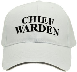 HEAVY BRUSHED COTTON BASEBALL CHIEF WARDEN CAP. WHITE WITH HI VIS SILVER SANDWICH PEAK & REAR VELCRO TAB.