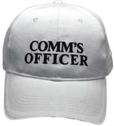 HEAVY BRUSHED COTTON BASEBALL WHITE COMMUNICATIONS OFFICER CAP. WHITE/BLACK TEXT WITH HI VIS SILVER SANDWICH PEAK & REAR VELCRO TAB.