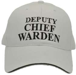 HEAVY BRUSHED COTTON BASEBALL DEPUTY CHIEF WARDEN CAP. WHITE/BLACK TEXT WITH HI VIS SILVER SANDWICH PEAK & REAR VELCRO TAB.