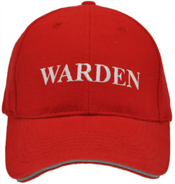 HEAVY BRUSHED COTTON BASEBALL RED FIRE WARDEN CAP. RED/WHITE TEX WITH HI VIS SILVER SANDWICH PEAK & REAR VELCRO TAB.