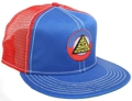 CUSTOM MAKE ACRYLIC FLATBRIM CAP ROYAL-RED WITH CONTRAST STITCHING WITH EMBROIDERED BADGE