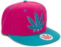 CUSTOM MAKE ACRYLIC FLATBRIM CAP WITH CONTRAST EYELETS & BUTTON & PEAK 								HOT PINK & AQUA WITH 3D EMBROIDERY