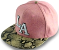 CUSTOM MAKE WOOLMIX FABRIC SNAPBACK FLAT BRIM HAT WITH SNAKESKIN LEATHER BRIM 								HOT PINK & AQUA WITH 3D EMBROIDERY