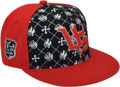 CUSTOM MAKE ACRYLIC FLATBRIM CAP WITH CONTRAST FONT PANELS EYELETS & BUTTON