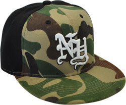 CUSTOM MAKE ACRYLIC FLAT BRIM DECORATED WITH CONTRAST EYELETS & BUTTON FITTED OR SNAPBACK, YOU CHOOSE