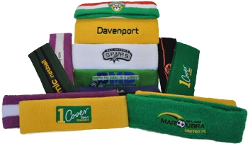CUSTOM MAKE TERRY TOWELLING HEADBANDS EMBROIDERED WITH YOUR LOGO             ON. YES WE CAN CUSTOM MAKE THE TERRY TOWELLING HEADBANDS TO ANY SIZE.